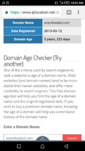 Examloaded.com domain age